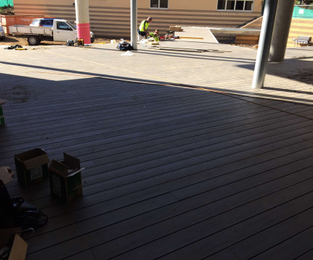 GS Built a 280m2 Modwood Deck and Staged Seating For Patrician Brothers Public School Fairfield, NSW