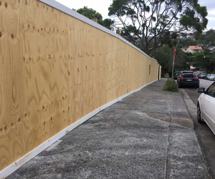90 meter timber hoarding with 2 6meter sliding gates Mosman, NSW
