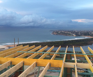 Roof frame to new home Collaroy, NSW