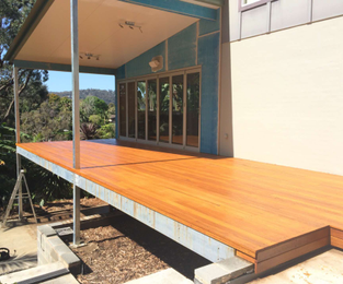 Structural steel to take deck and new doors to open the back of the house.  Deck has been sanded and finished and ready for glass handrail Bilgola Beach, NSW