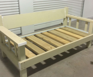 Custom daybed ready for paint. Designed to take a single matress and suitable for outdoor use.  Built and shipped to Queensland Fairlight, NSW
