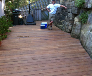 Creating a new outdoor area between the house and a rock Balmain East, NSW