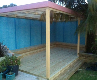 Outdoor area with built in seating.  Ready for painting North Curl Curl, NSW