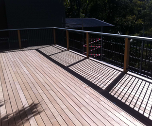 3 storeys up. New deck, posts, handrail and balustrade Ready for paint Bilgola Plateau, NSW