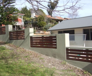 New rendered fence with hardwood timber infill panels Frenchs Forest, NSW