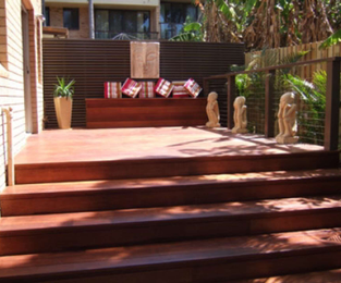 Deck, daybed, handrail, stainless wire and full width stairs Balgowlah, NSW