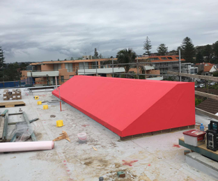 New build on Manly beachfront. Skylight framed clad and membraned ready for zinc sheeting. Manly, NSW