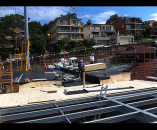 Ply and membrane over steel roof frame. Getting ready for zinc roofing Balmoral, NSW